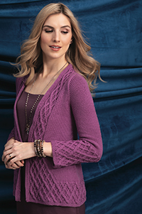 Cascade Yarns featured in magazine: Vogue Knitting Winter 2018/2019, #5 Cabled Cardigan By Amy Herzog, photo by Vogue Knitting, Pattern in Longwood yarn