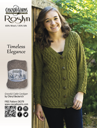 05cc72e29974f Graceful Cabled Cardigan DK379 by Cheryl Beckerich. The pattern uses  Cascade Yarns® Roslyn