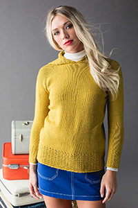 Cascade Yarns featured in magazine: Knitscene Spring 2019, First Class Hoodie By Cheryl Toy, photo by Harper Point Photography, Pattern in 220 Superwash® Merino yarn