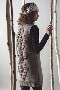 Cascade Yarns featured in magazine: Interweave Crochet Winter 2019, HOt Cocoa Vest By Sara Dudek, photo by Haper Point Photography, Patter in Pacific® yarn