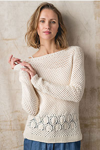 Cascade Yarns featured in magazine: Interweave Knits Summer 2019, Ocean City Pullover By Nicky Jansen photo by Harper Point Photography, Pattern in Anchor Bay