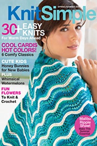 Cascade Yarns on the cover of Knit Simple Spring/Summer 2019 Malibu Ripple Shawl by Audrey Drysdale photo by Jack Deutsch pattern in Cascade Ultra Pima Paints