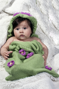 Cascade Yarns Cherub Aran, Cherub Aran Multis and Cherub Aran Wave Free Pattern A174 Ruffles & Posies Sleep Sack and Hat