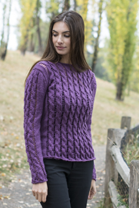 Cascade Yarns Cherub Aran, Cherub Aran Multis and Cherub Aran Wave Free Pattern A289 Lace Cable Tunic