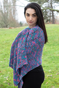 Cascade Yarns Cherub Aran, Cherub Aran Multis and Cherub Aran Wave Free Pattern A309 Graffiti Prayer Shawl