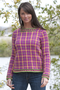 Cascade Yarns® Free 220 Superwash® Sport and 220 Superwash®  Pattern DK209 Woman's Plaid Pullover