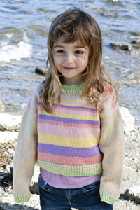 Cascade Yarns® Free 220 Superwash® Sport and 220 Superwash®  Pattern  DK227 Girl's Striped Sweater