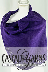 Cascade Yarns® Free Anchor Bay Pattern | DK598 Royal Violet Shawl