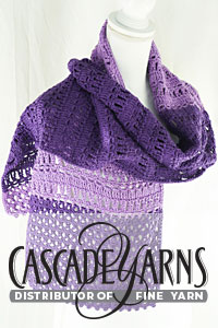 Cascade Yarns free Noble Cotton Pattern DK621 Lilac Bloom Wrap