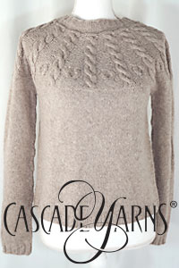 Cascade Yarns Free Eco Merino DK Pattern DK674 Cable Yoke Pullover Cowl