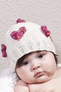 Cascade Yarns Heritage and Heritage Paints Free Pattern FW116 Hearts and Flowers Baby Hat