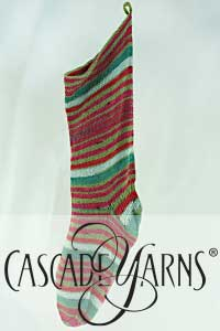Cascade Yarns Heritage Wave Free Pattern FW216 Self-Striping Christmas Stocking