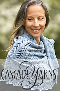 Cascade Yarns free knitting  pattern FW245 Textured Lace and Cables Half Circle Shawl