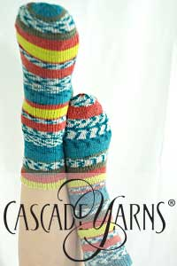 Cascade Yarns Heritage Wave Free Pattern FW269 Simple Printed Socks