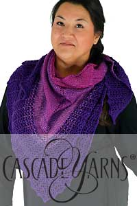 Cascade Yarns Heritage and Heritage Wave Free Pattern FW279 Merlot Wave shawl