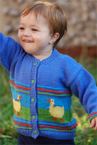 Cascade Yarns®  Free 220 Superwash®  pattern W187 Children's Duck Cardigan