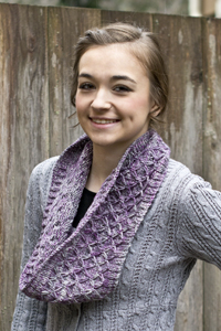 Cascade Yarns®  Free 220 Superwash®  Effects pattern W617  Purple Thistle Cowl