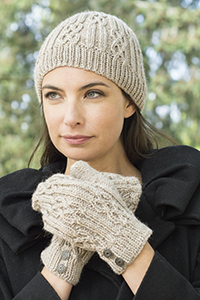 Cascade Yarns - Cascade 220® and Cascade 220® Heather Free Pattern - W640 Celtic Cable and Rib Beanie & Mittens
