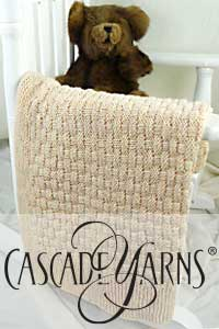 Cascade Yarns Free 220 Superwash® Effects Pattern W645 Pie Crust Basketweave Blanket