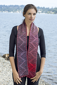 Cascade Yarns®  Free 220 Superwash® Wave  pattern W687 Lightening Grid Scarf