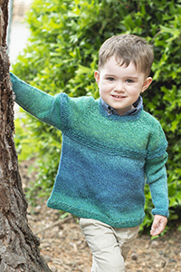 Cascade Yarns®  Free 220 Superwash® Wave pattern W719 Top Down Gradient Kid's Sweater