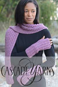 Cascade Yarns free 220 Superwash Merino Pattern W731 Interrupted Rib Duo (scarf and mitts)